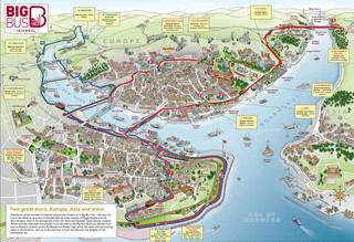 Map of Istanbul hop on hop off bus tour with Big Bus